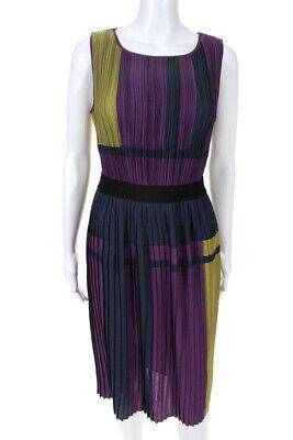 BCBG Max Azria Womens Color Blocked Pleated A-Line Midi Dress Purple Size Small