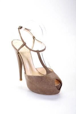 Giuseppe Zanotti Design Womens Platform Peep Toe Pumps Tan Size 39.5 9.5