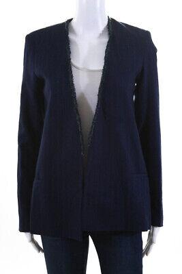 La Linge Womens Open Front Fringe Trim Jacket Blue Wool Striped Size 2