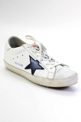 Golden Goose Deluxe Brand Womens Leather Superstar Sneakers White Navy Size 40