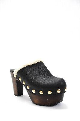 Giuseppe Zanotti Design Womens Rounded Toe Black Leather Clogs Heels Size EUR 38