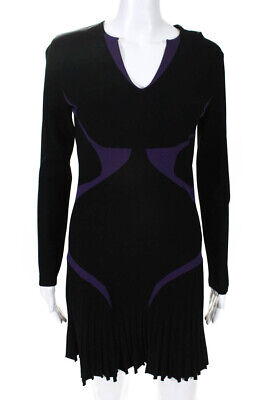 Alexander McQueen Women's Long Sleeve V-Neck Shift Dress Black Purple Size Large
