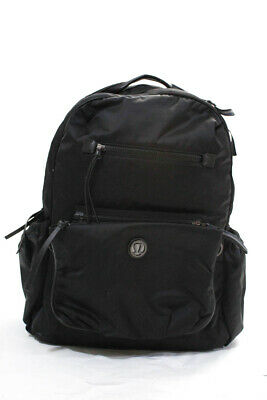Lululemon  Womens  Zip Around Athletic Gym Backpack Black Lined