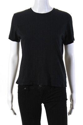 Agolde Womens Short Sleeve Boat Neck Baby Tee Shirt Black Cotton Size Medium