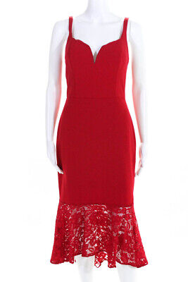 Aidan Mattox Womens Tea Length Laced Hem Cocktail Dress Red Size 8 -