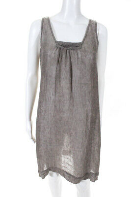 Eileen Fisher Womens Linen Sleeveless Square Neck Shift Dress Taupe Size Small