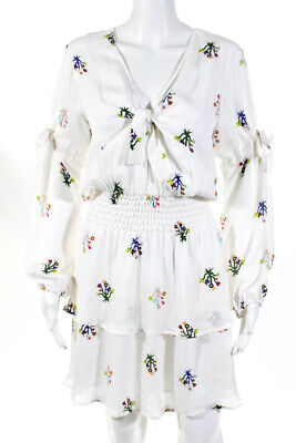 Cynthia Rowley Womens Silk Long Sleeve Floral Dress White Size Large