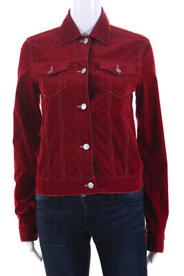 Theory Womens Corduroy Button Down Jacket Red Cotton Size Small