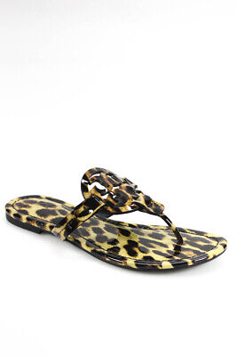 Tory Burch Womens Faux Patent Leather Leopard Print Sandal Shoes Brown Size 6