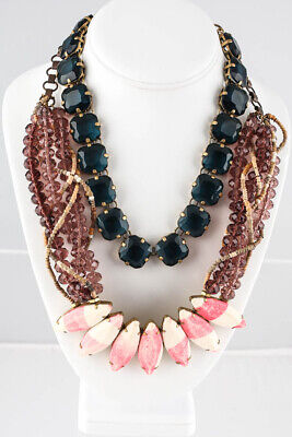 J Crew Gold Tone Blue Crystal Pink White Purple Beaded Necklaces Lot 2