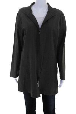 Eileen Fisher Womems Long Sleeve Full Zip Crew Neck Jacket Gray Size Large