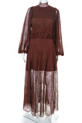 Beaufille Womens Mesh Overlay Maxi Picasso Dress Burnt Sienna Red Size 8