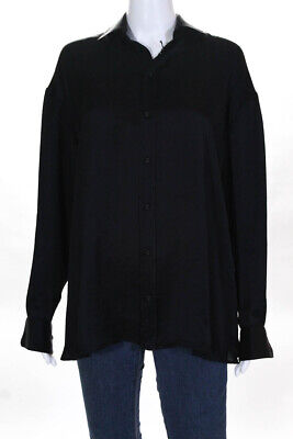 Tomas Maier Womens Solid Button Down Blouse Black Size 2