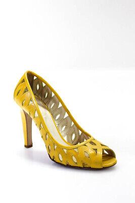 Miu Miu Womens Slip On Peep Toe Patent Leather Cutout Pumps Yellow Size 39.5 9.5