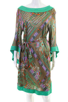 Versace Collection Womens Geometric Kimono Sleeve Belted Sheath Dress Size IT 48