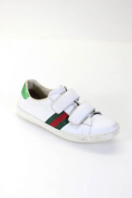 Gucci Kids White Leather Low Top Sneakers Shoes Size EUR 38