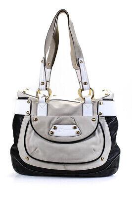 B Makowsky Womens Leather Gold Tone Shoulder Handbag Beige Black