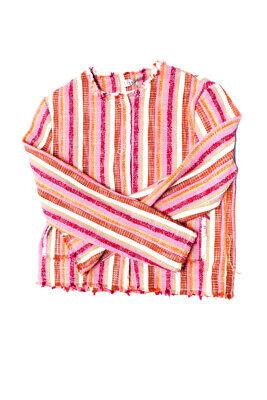Il Gufo Girls Woven Long Sleeve Casual Striped Jacket Pink Orange Cotton Size 12