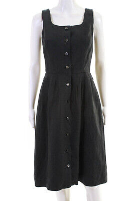 Brooks Brothers Womens Pleated Buttoned A-Line Midi Dress Black Size 4 Petite