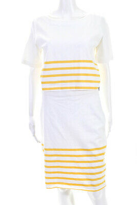 Band Of Outsiders Womens Cotton Striped Short Sleeve Sundress Yellow Size L