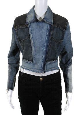 Herve Leger  Womens Zip Up Color Block Jacket Blue Black Denim Size Small