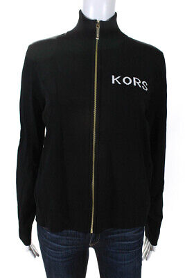 Michael Michael Kors Womens Full Zip Logo Jacket Black White Size Large