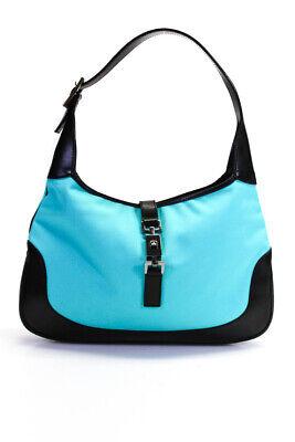 Gucci Nylon Leather Jackie O Shoulder Handbag Aqua Navy Blue