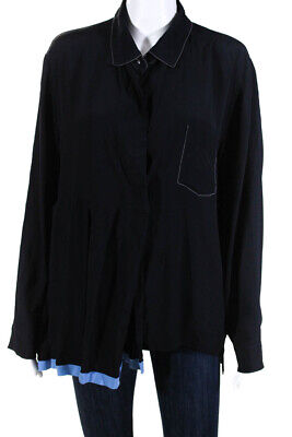 Marni Womens Pleated Collared Long Sleeve Shirt Navy Size IT 46 13169006
