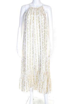 Tibi Womens Silk Blend Gathered Shift Dress Gold Dot White Size 10 LL19LL