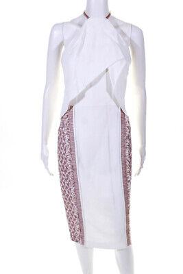 Roland Mouret Womens Woven Fringe Zip Halter Sheath Dress Pink White Size 8