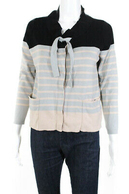 Hoss Intropia Womens Striped Long Sleeve Cardigan Sweater Blue Cotton Size Large