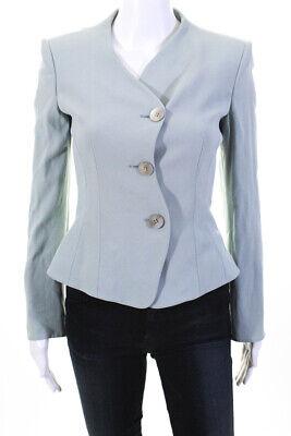 Emporio Armani Womens Three Button Scalloped Blazer Blue Size IT 40