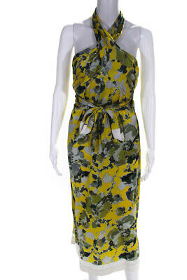 Dries Van Noten Womens Silk Floral Print Halter Maxi Wrap Dress Yellow Size M
