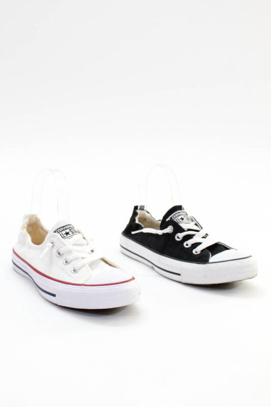 Converse Womens Lace Up Low Top Sneakers Black White Canvas Size 7.5 Lot 2