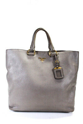 Prada Leather Gold Tone Large Tote Handbag Stone Gray