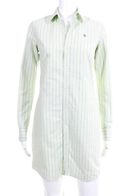 Ralph Lauren Womens Cotton Striped Print Button Down Shirt Dress Green Size 2