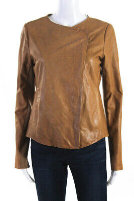 Vince Womens Leather Asymmetrical Zip Up Motorcycle Jacket Brown Size Small