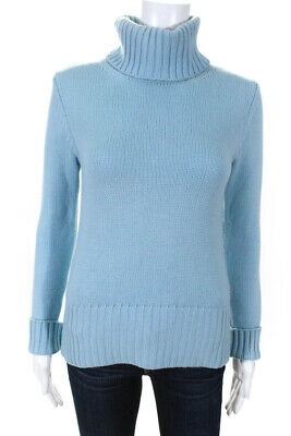 Burberry London Womens Turtleneck Sweater Blue Wool Size Extra Small