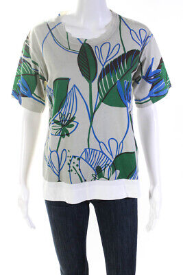 Marni Womens Short Sleeve Crew Neck Graphic T-Shirt Top White Green Size EUR 38