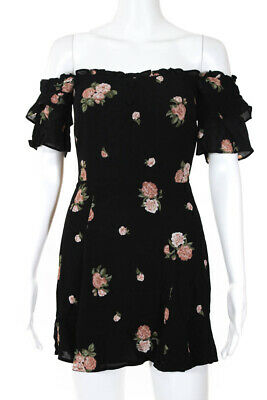 Reformation Womens Floral Print Off The Shoulder Mini Dress Black Pink Size 0