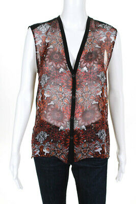 Helmut Lang Womens Abstract Print Button Down Tank Top Black Red Size Small
