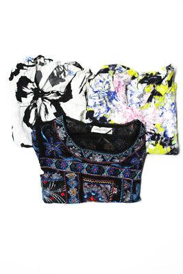 Zara Woman Women's Printed Tops White Black Blue Size Small Lot 3