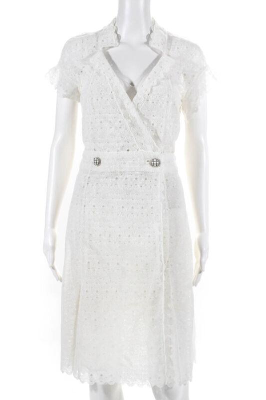 Chanel Womens 2016 Paris-Seoul Lace Button Dress White Size Medium LL19LL