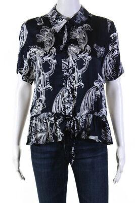 STINE GOYA Satin Short Sleeve Womens Makayla Shirt Top Blue Size Medium 12010180