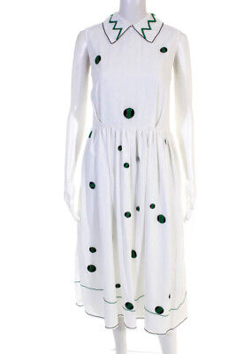 Jupe By Jackie Womens Embroidered Polka Dot Midi A Line Dress White Size XS