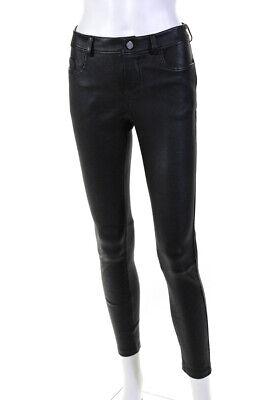 Desa Nineteenseventytwo Womens Leather Mid Rise Stretch Nappa Pants Black Size 8