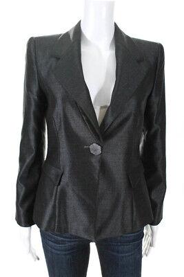 Giorgio Armani Womens Notched Collar Carved Button Blazer Black Size European 38