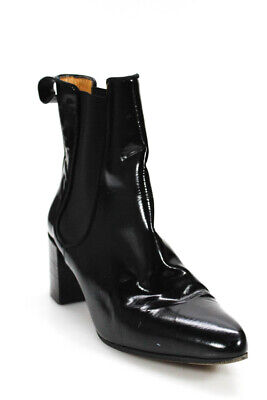 Acne  Womens Pointed Toe Pull On Short Boots Black Patent Leather Size 39  9