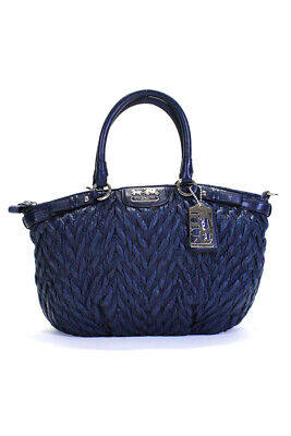 Coach Womens Zip Top Quilted Logo Mini Satchel Handbag Blue Nylon Leather
