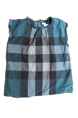 Burberry Kids Girls Check Printed Top Blue Size 6 Years LL19LL